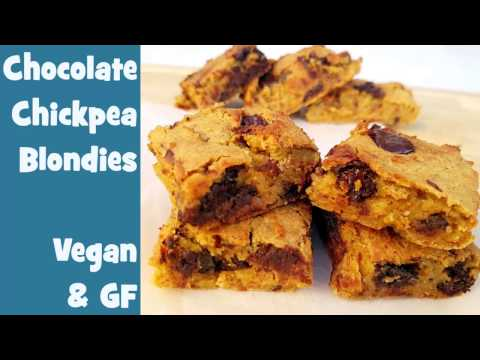 Chocolate Chip Almond Chickpea Blondies - Vegan, Gluten Free, Plant Based and Healthy