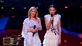 Millie Bobby Brown & Kylie Minogue Presents Award at the BRIT Awards to Dua Lipa