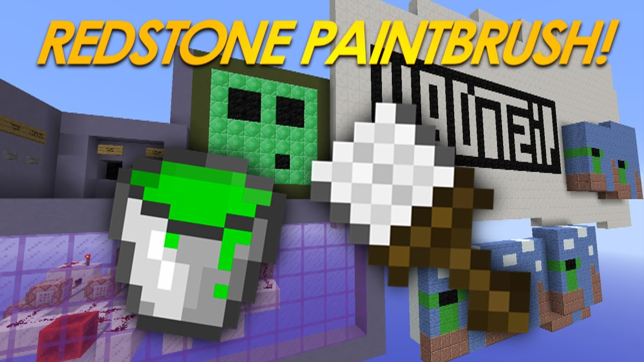 Minecraft Redstone | PAINTING IN VANILLA MINECRAFT! Paint ...