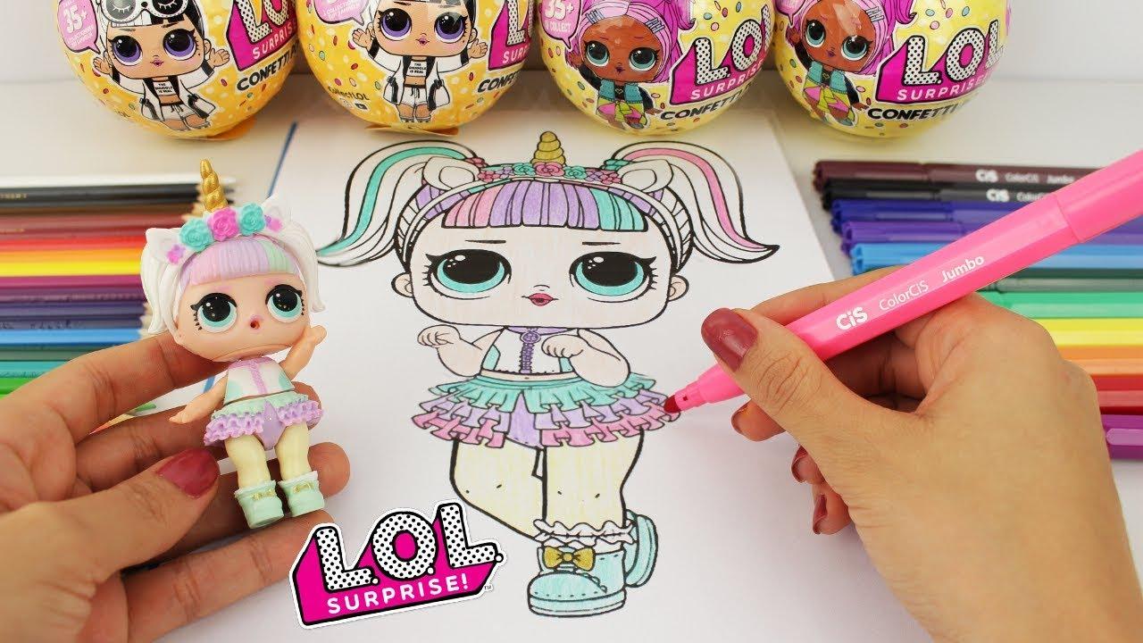 colorindo boneca lol surpresa unicÓrnio l.o.l surprise