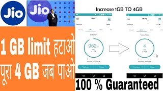 Remove Jio Limit 1gb Get 4gb 100% With Proof