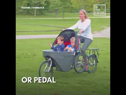 c09d0b8be78 Stroller converts to bicycle in seconds - YouTube