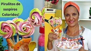 Como fazer Pirulitos de suspiros coloridos