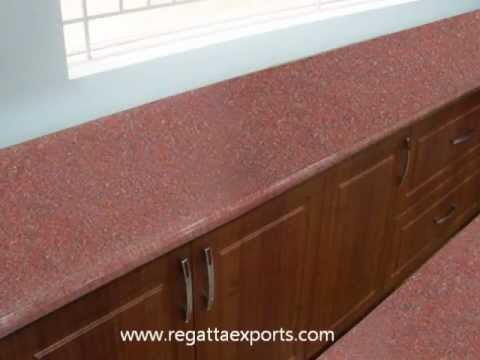 Ruby red granite or jhansi red granite exporters india youtube Kitchen platform granite design