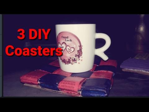 3 DIY newspaper coasters |recycled |Crazy Craft.