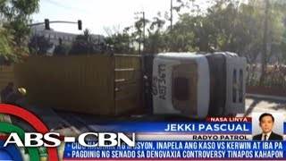 22-wheeler truck tumagilid sa Maynila, trapik nagsikip