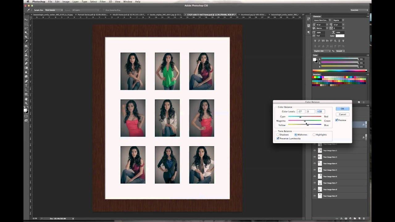 Customizing the 9-up Digital Frame Template - YouTube