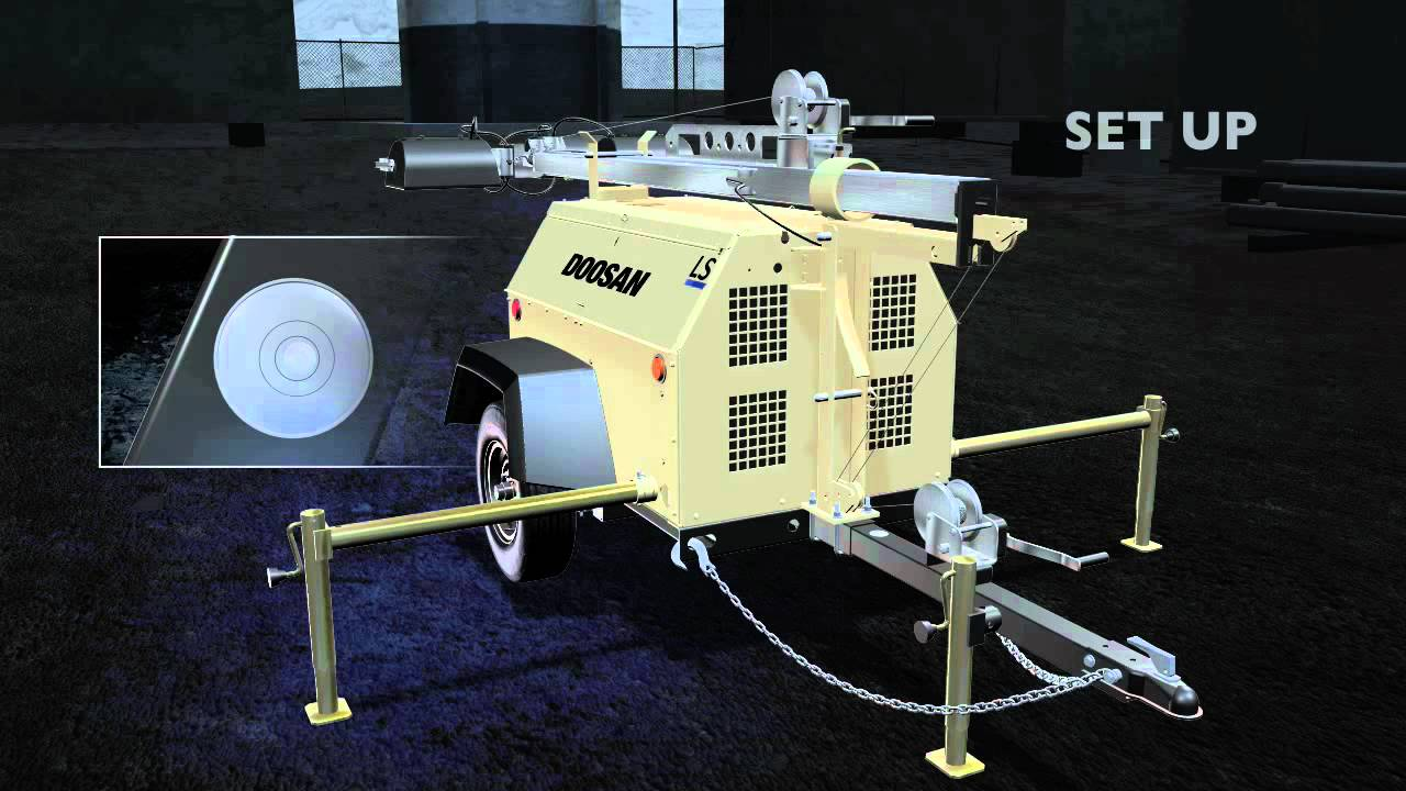 doosan portable power light tower setup and operation [ 1280 x 720 Pixel ]