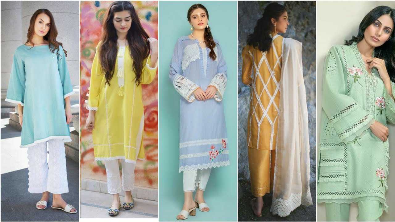 most Attractive and Trendy kurti designs with Lace Designing Idea's