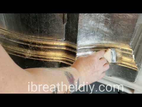 Silver Leaf & Glaze Wash Cabinet Refinishing DIY - short video