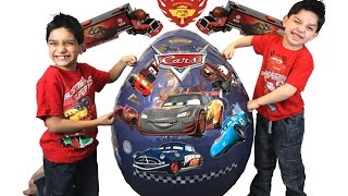 Gambar cover Disney Cars Giant Blue Toy Surprise Egg Opening Video By Hitzh Toys