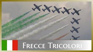 Beautiful and colourful display of the frecce tricolori (313° gruppo addestramento acrobatico) - aerobatic demonstration team italian aeronautica...