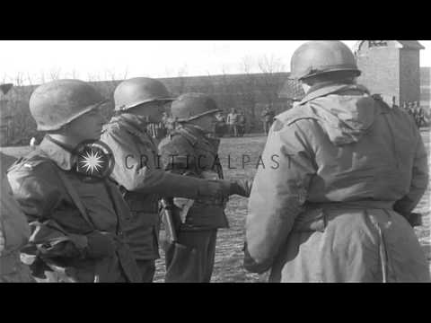 Major General Lowell W Rooks awards Presidential Citation to US Army soldiers in ...HD Stock Footage