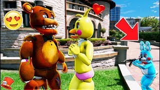 A FNAF ANIMATRONIC LOVE STORY! (GTA 5 Mods For Kids FNAF RedHatter)