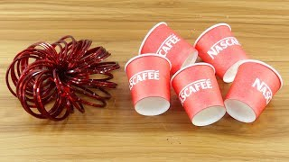 DIY craft ideas with coffee cups & old bangles | How to reuse Disposable coffee cup