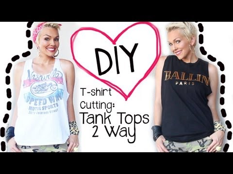 DIY How to Cut A T-Shirt 2 Ways into A Tank Top   Kandee Johnson