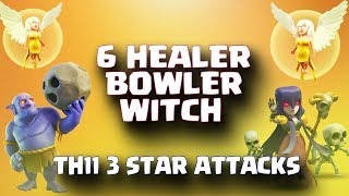 6 Healer+ Bowler+ Witch | Top 3 Star Attack | TH11 War Strategy #86 | COC 2017 |