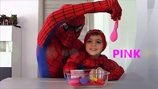 Inglese per bambini con Spiderman. Colori! Palloncini con fischietto. Balloons whistle