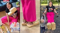 When Dad makes Mum wear bread slippers 🦶🍞