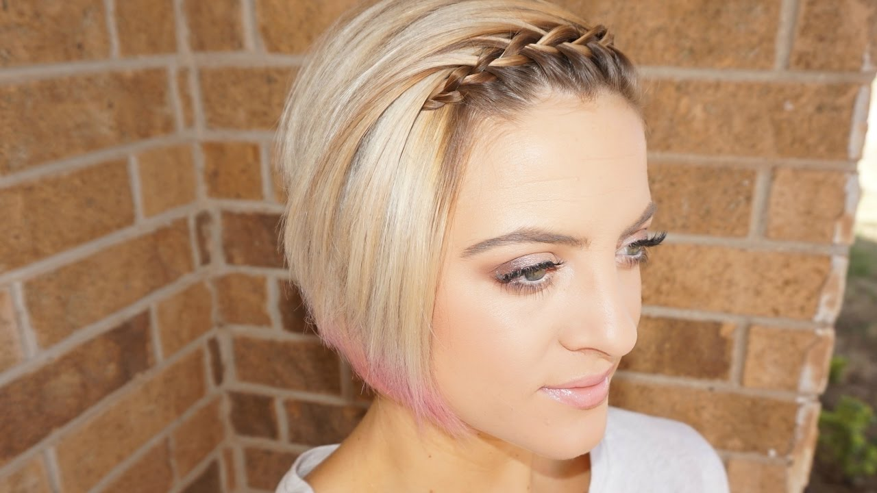 Waterfall Braided Bangs | Short Hair Tutorial - YouTube