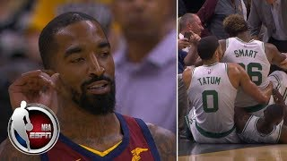 JR Smith waves goodbye to Marcus Smart after Cavs-Celtics scuffle | NBA Preseason Highlights thumbnail