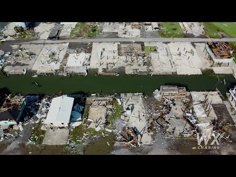 Grand Isle, La Drone video of Hurricane Ida Damage whole Island- Category 4 4k