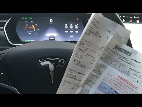 Tesla Model S version 7 Autopilot Speeding Ticket Auto Steering Demo on Streets, Highway, Traffic