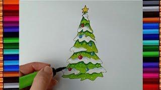 สอนวาดภาพระบายสีต้นคริสมาสต์ แบบมีหิมะเกาะ How To Draw Christmas Tree L Kids Love