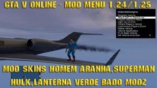 GTA V Online Mod Menu 1.24/1.25 Mod Skins Homem Aranha, Superman, Hulk, Lanterna Verde
