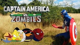 Repeat youtube video Real Life Captain America and Angry Birds Vs Zombies