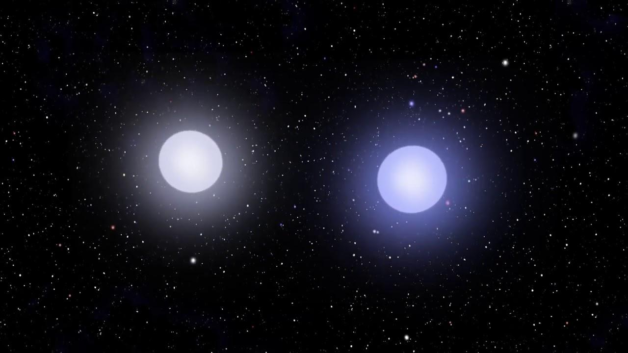 White dwarf stars orbiting and merging animation YouTube