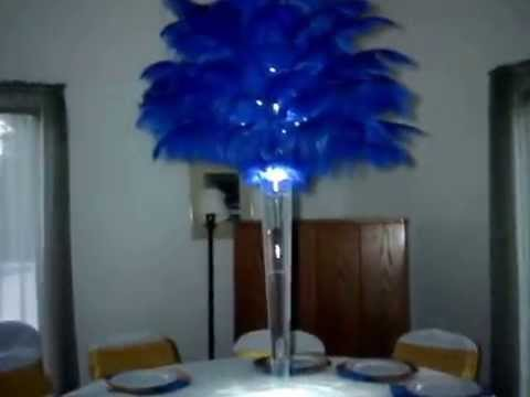 Rent Royal Blue Ostrich Feather Centerpieces by Sweet 16 Candelabras  YouTube