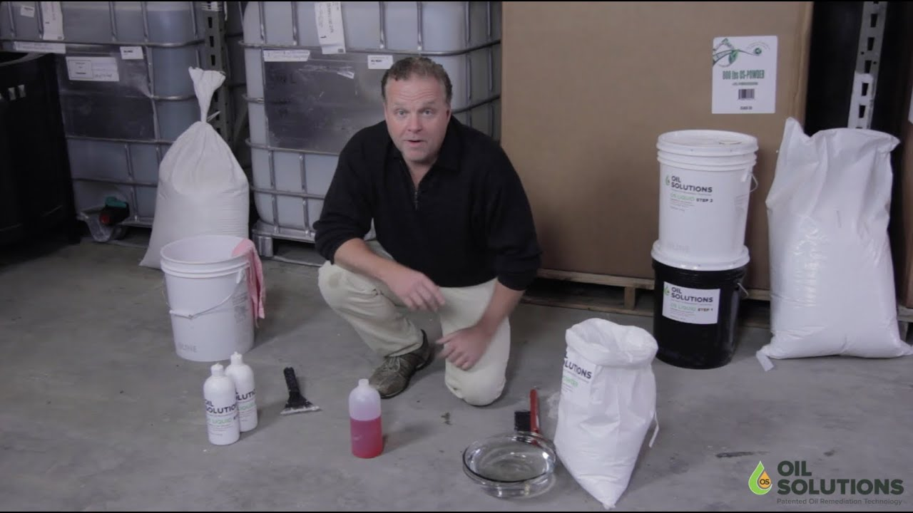 how to clean oil off cement