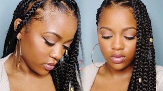 easy triangle part box braids rubberband method