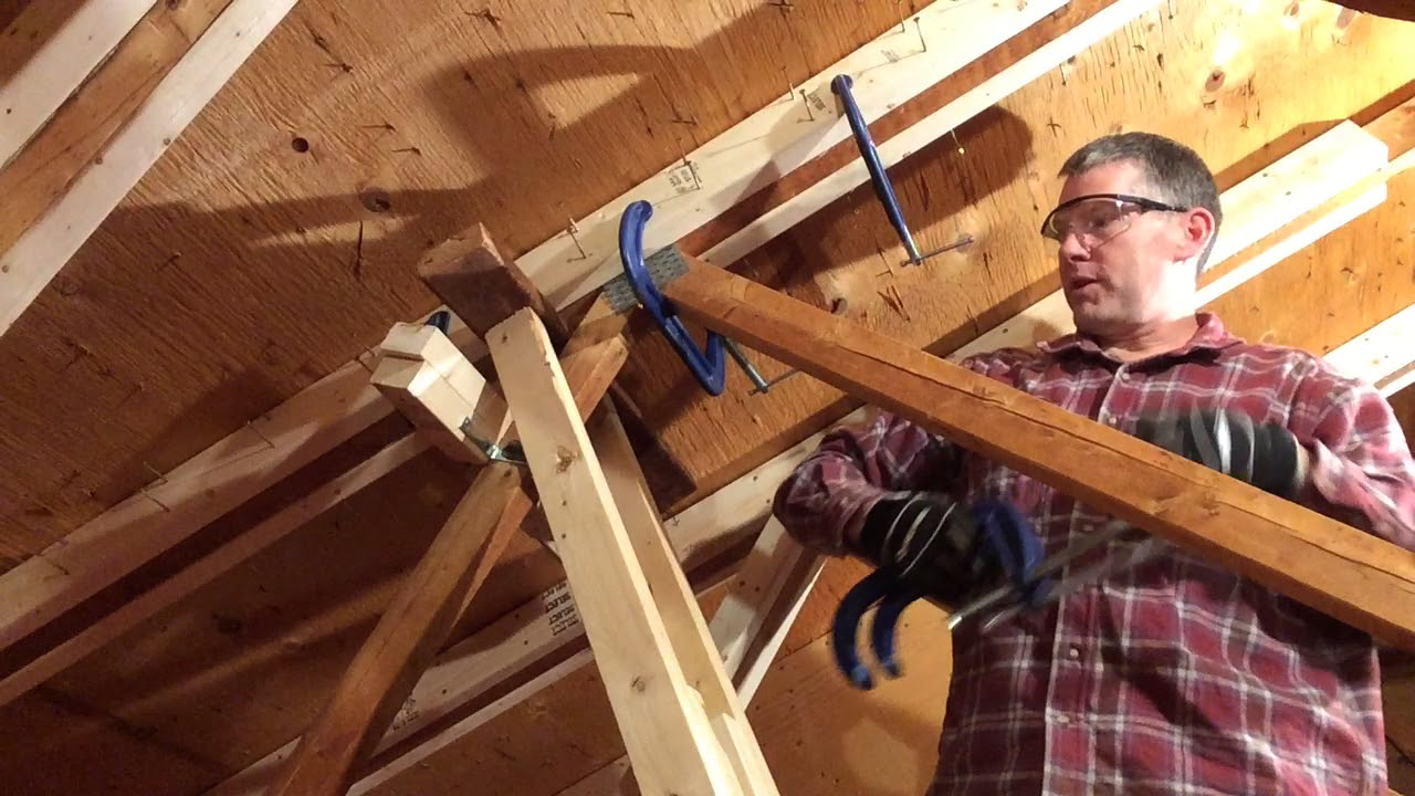 Attic Truss Repair 05 Glue Amp Screw Top Chord Splice Youtube