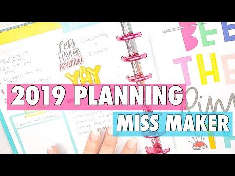 HAPPY PLANNER MISS MAKER | 2019 SOCIAL MEDIA PLANNER MONTHLY SETUP | YOUTUBE + BLOGS + INSTAGRAM