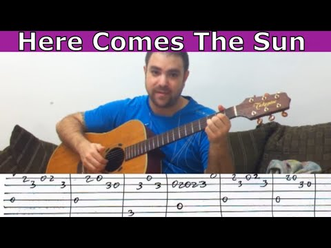 Tutorial: Here Comes the Sun - w/ TAB (Guitar Lesson)