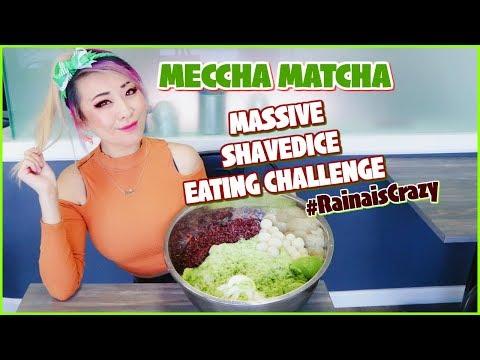 MASSIVE MATCHA SHAVED ICE BOWL Eating Challenge @Meccha Matcha in Artesia, CA #RainaisCrazy