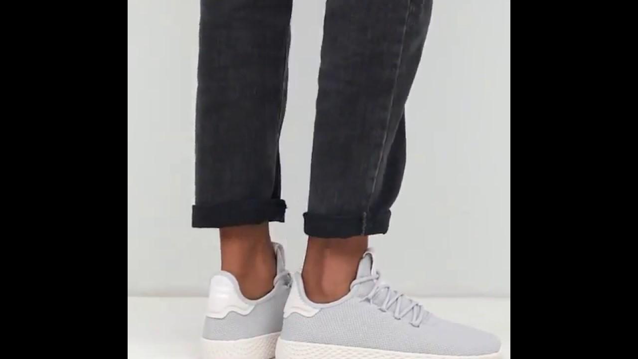 4501281ea Adidas Originals Pharrell Williams Tennis Hu Sneakers In Gray - YouTube