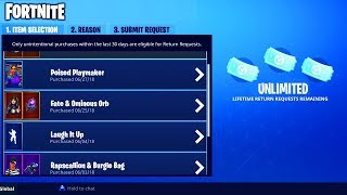 COMMENT GET 'UNLIMITED' REFUNDS in FORTNITE - NO REFUND LIMIT for SKINS in FORTNITE BATTLE ROYALE!