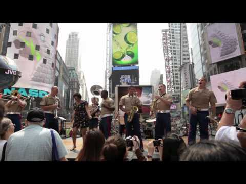 Marine Band sings Beautiful Girl by Sean Kingston to one lucky lady during Fleet Week New York 2011