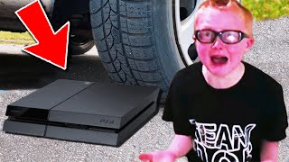 dad crushes PS4 with CAR over fortnite.. (BIG MISTAKE)