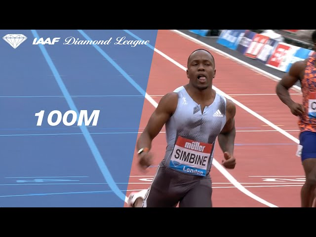 Akani Simbine streaks to victory in the 100m sprint in London - IAAF Diamond League 2019