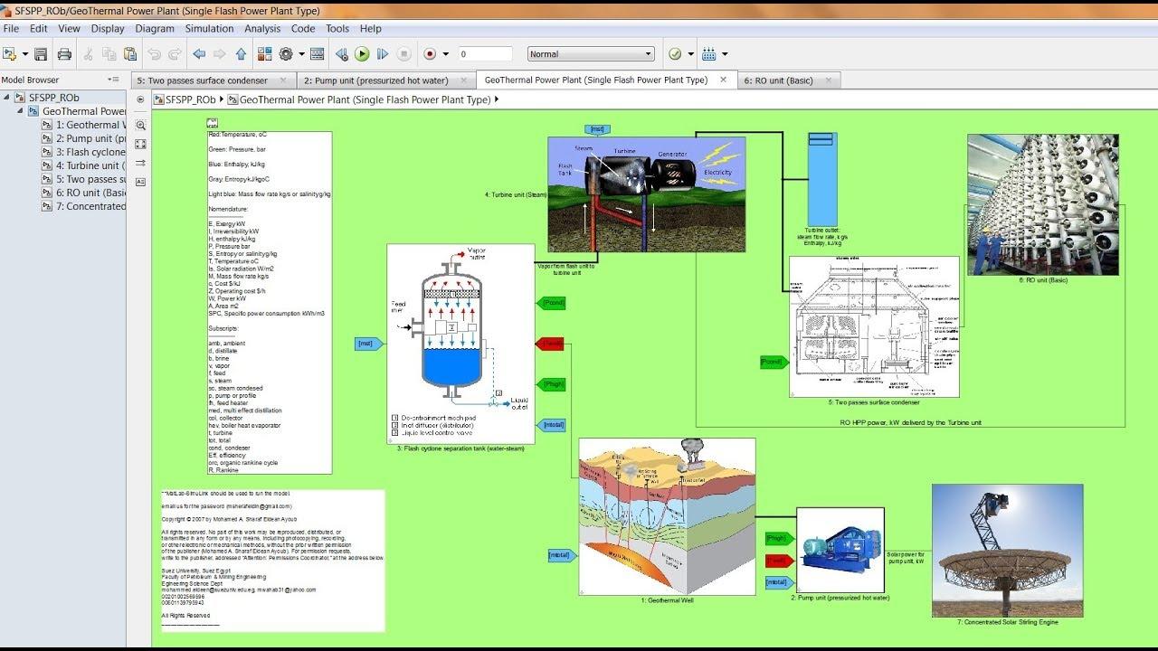 Geothermal Power Desalination Matlab/Simulink Model Run