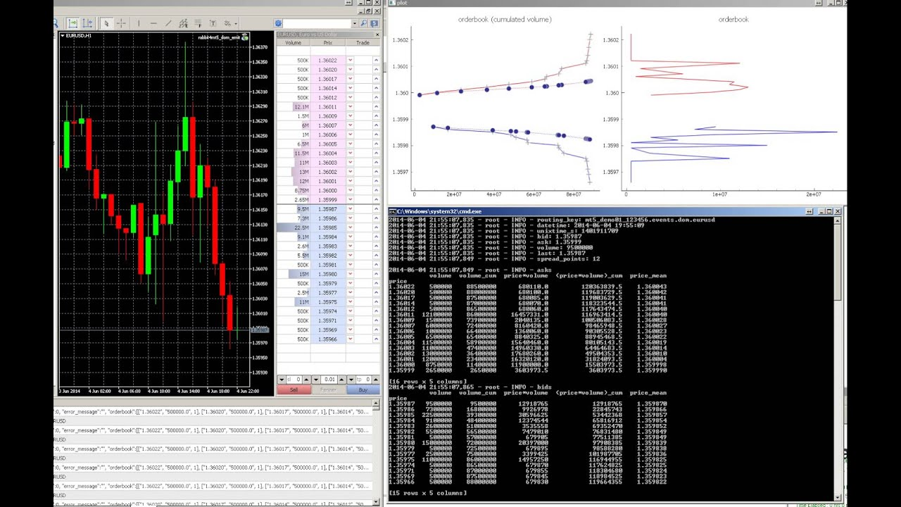 Realtime Metatrader 5 DOM (orderbook) plot with Python, Pandas, PyQtGraph  and RabbitMQ