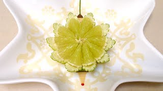How To Make A Lime Flower Christmas Bell - Beginners Lesson 47 By Mutita Art Of Fruit Veg Carving