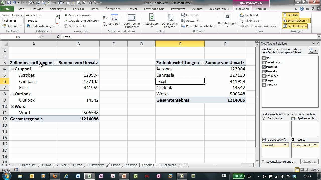 Excel - Pivot Tutorial 6a - Gruppierung vs mehrere Pivot-Tabellen ...