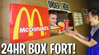 I OPENED A 24 HOUR McDONALD'S BOX FORT! 📦🍔 (FAST FOOD RESTURANT CHALLENGE!)