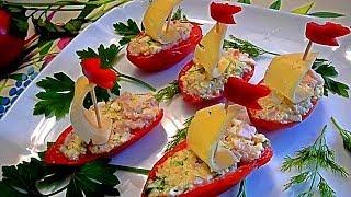 """Закуска из помидор. Фаршированные помидоры с сыром и ветчиной """"Кораблики""""."""