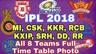IPL 2018: IPL 2018 FULL ALL 8 TEAMS TIME TABLE SCHEDULE | MI, CSK, KKR, RCB, KXIP, SRH, DD, RR, |